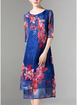 Nadrukowana Rękawy 1/2 Koktajlowa Midi Casual Sukienki