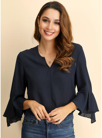 Solid V Neck Flare Sleeve 3/4 Sleeves Casual Elegant Shirt Blouses