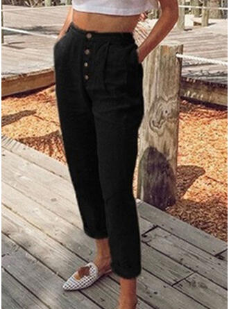 tasche arricciato Taglia grossa Lungo Casuale Solido Pantaloni
