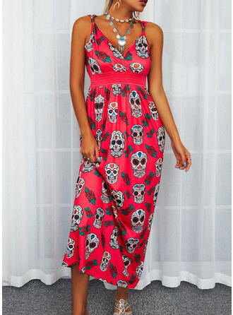 Impresión/Floral Sin mangas Acampanado Patinador Casual Maxi Vestidos