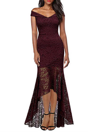 Lace/Solid Cap Sleeve Sheath Asymmetrical Party/Elegant Dresses