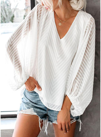 Solid V-neck Long Sleeves Elegant T-shirts
