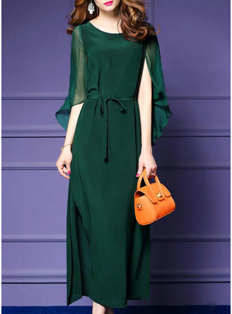 Chiffon With Solid Maxi Dress
