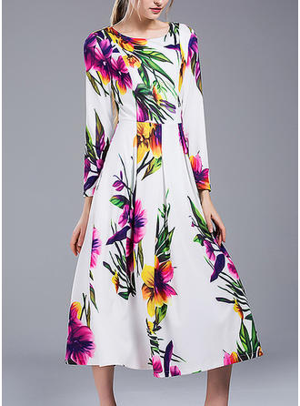 Print Long Sleeves A-line Midi Elegant Dresses