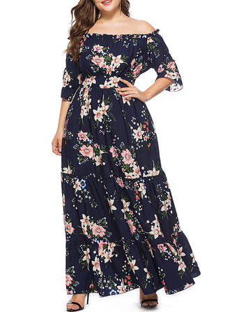 Print/Floral 1/2 Sleeves A-line Casual/Plus Size Maxi Dresses