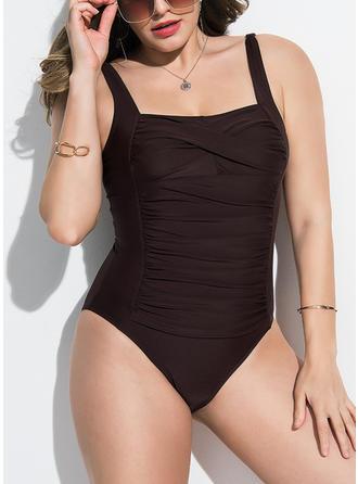Jednobarevné Na ramínka Elegantní Plus mărimea Jednodílné Costume de baie