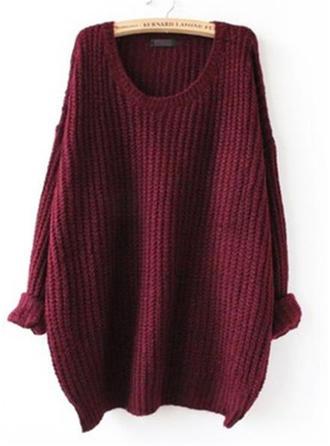 Bawełna Okrągły Dekolt Jednolity kolor Swetry