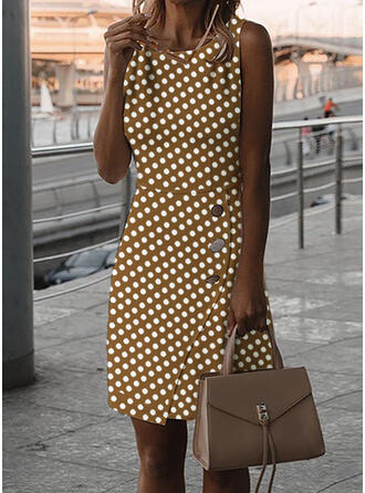 PolkaDot Sleeveless Bodycon Knee Length Casual Dresses