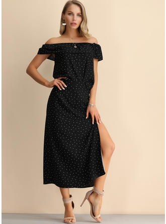 PolkaDot Short Sleeves A-line Midi Little Black/Casual Dresses