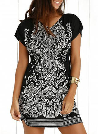 Print V-neck Above Knee Sheath Dress