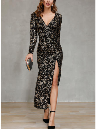 Print Long Sleeves Sheath Maxi Party Dresses