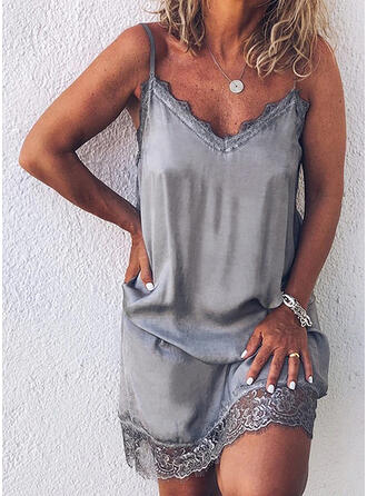 Lace/Solid Sleeveless Shift Above Knee Casual/Vacation Slip Dresses (199296244)