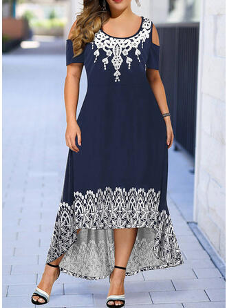 Plus Size Print Cold Shoulder Sleeve Short Sleeves A-line Asymmetrical Casual Dress