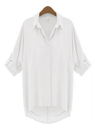 Chiffon Lapel Plain Long Sleeves Casual Blouses