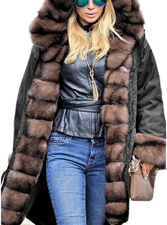 Polyester Umělá kožešina Dlouhé rukávy Jednobarevný Umělá kožešina kabát