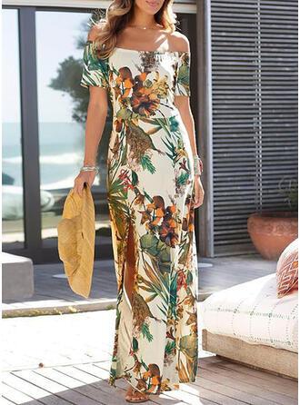 Print/Floral Short Sleeves Sheath Casual/Vacation Maxi Dresses