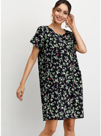 Print/Floral Short Sleeves Shift Above Knee Casual Dresses