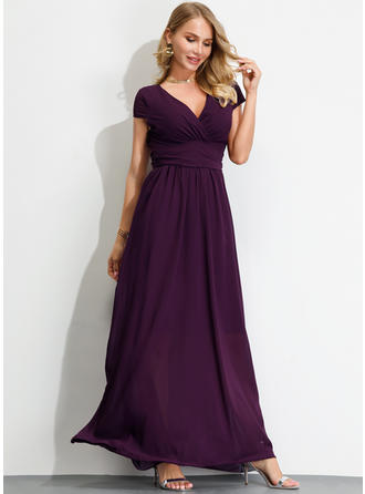 Solid Short Sleeves A-line Maxi Party/Elegant Dresses