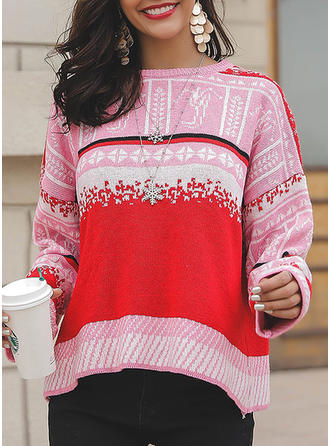 Polyester Cotton Round Neck Print Patchwork Ugly Christmas Sweater