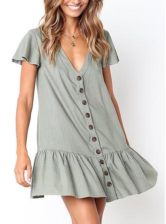 Solid V-neck Above Knee Shift Dress