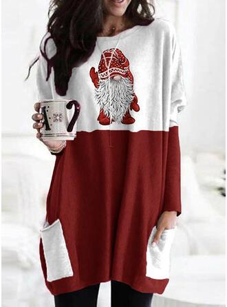 Print Color Block rund hals Lange ærmer Jule sweatshirt