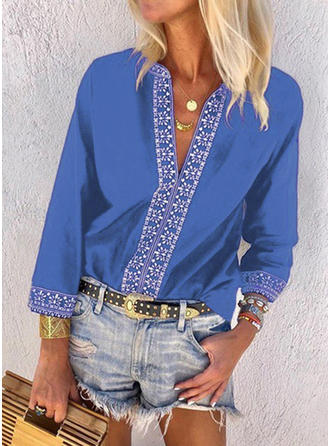 Solid V Neck Long Sleeves Casual Blouses