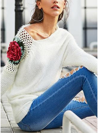 Print Floral Cable-knit Sweaters