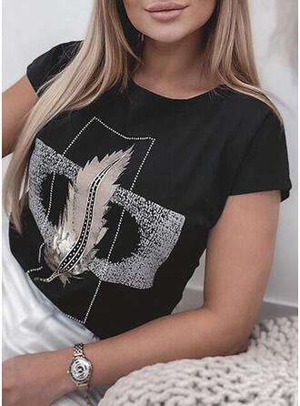 Print pailletter Rund hals Korte ærmer T-shirts