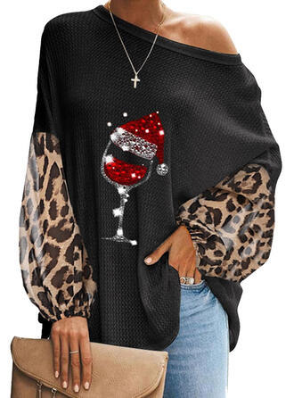 Sequins Leopard One-Shoulder Lantern Sleeve Long Sleeves Casual Christmas Blouses