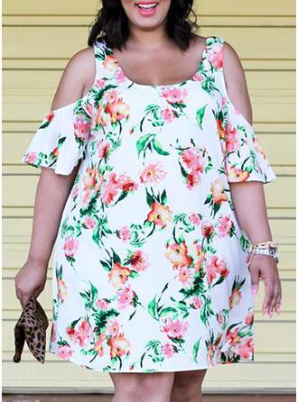 Print/Floral Short Sleeves/Cold Shoulder Sleeve Shift Knee Length Casual/Elegant/Plus Size Dresses
