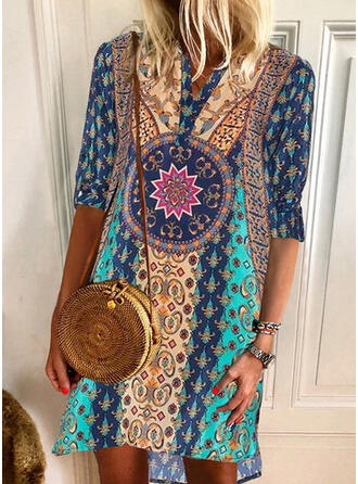 Print 1/2 Sleeves Shift Above Knee Casual/Boho/Vacation Dresses