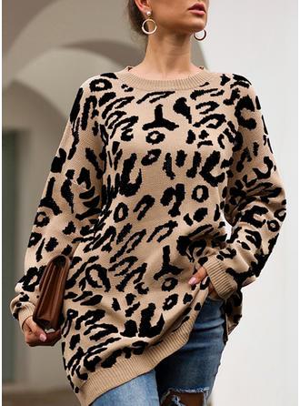 Animal Print Chunky knit Round Neck Sweaters