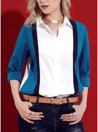 Color Block Lapel 3/4 Sleeves Button Up Casual Elegant Shirt Blouses