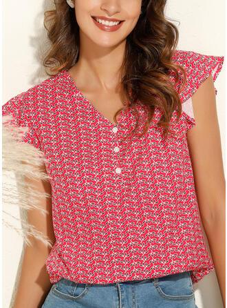 Print V-hals Cap Mouw Casual Overhemd