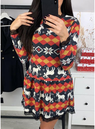 Print Long Sleeves A-line Knee Length Christmas/Casual Dresses