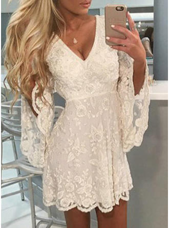 Lace/Solid 1/2 Sleeves/Long Sleeves/Flare Sleeves A-line Above Knee Casual Dresses