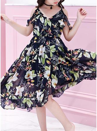 Girls Spaghetti Strap Floral Ruffles Cool Bohemian Dress