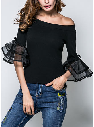 Cotton Organza One Shoulder Plain 3/4 Sleeves Casual Blouses