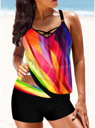 Splice color Strap V-Neck Sexy Vintage Colorful Tankinis Swimsuits