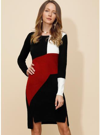 Color Block Round Neck Sweater Dress