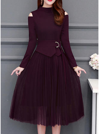 Solid Long Sleeves A-line Midi Little Black/Casual/Elegant Dresses