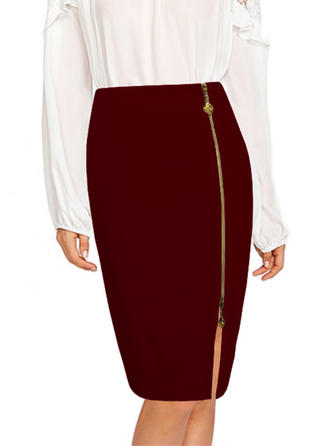 Cotton Blends Polyester Plain Knee Length Pencil Skirts