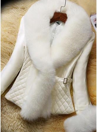 Faux Fur Long Sleeves Patchwork Blend Coats
