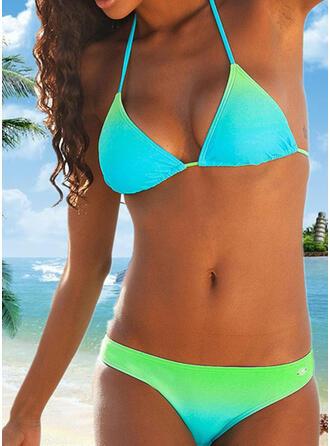 Splice kleur Halter V-hals Sexy Kleurrijk Bikini's Badpakken