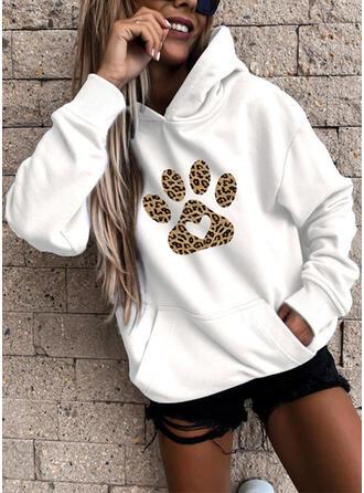 Dyr Leopard Lommer Lange ærmer Hoodie