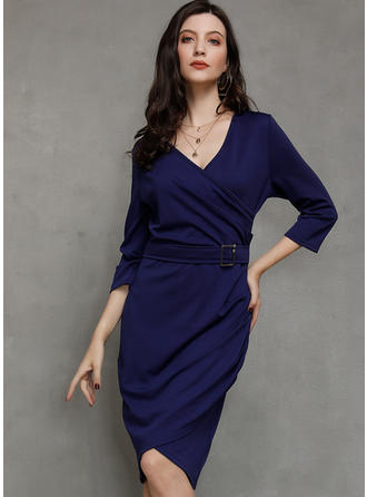 Solid 3/4 Sleeves Bodycon Asymmetrical Casual/Party/Elegant Dresses