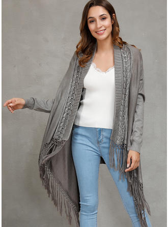 Polyester Long Sleeves Solid Cable-knit Cardigans