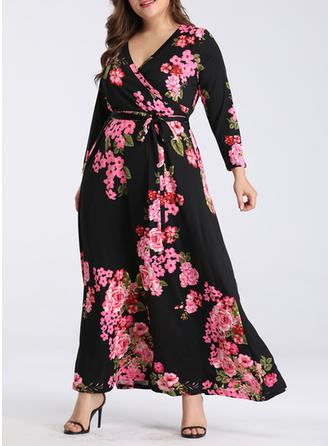 Print/Floral Long Sleeves A-line Maxi Casual/Boho/Vacation Dresses
