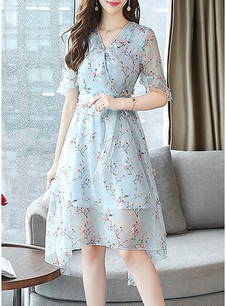Print/Floral 1/2 Sleeves A-line Knee Length Casual/Elegant Dresses