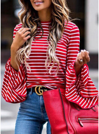 Cotton Round Neck Striped Flare Sleeve Casual Blouses